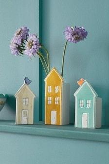 Set of 3 Multi House Ceramic Vases