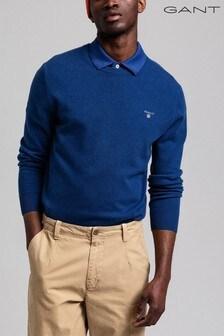 GANT College Blue Superfine Lambswool Crew Sweater