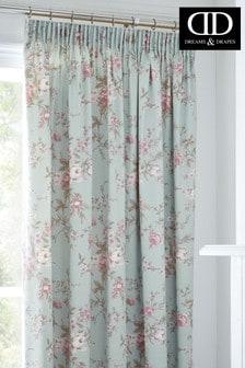 D&D Blue Saskia Vintage Floral Pencil Pleat Curtains