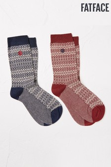 FatFace Blue Fairisle Pattern Boot Socks Two Pack