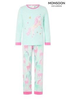 Monsoon Organic Unicorn Jersey Pyjama Set