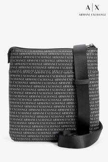 Armani Exchange多標誌斜背包