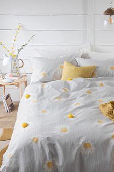 3D Daisy Pom Pom Duvet Cover and Pillowcase Set