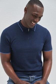 Bluză polo din bumbac cu mânecă scurtă și fermoar