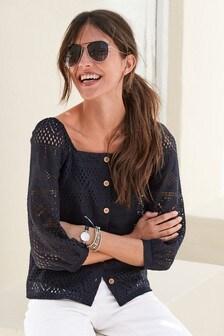 Блузка с квадратным вырезом и вышивкой ришелье