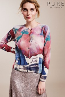 Pure Collection - Cardigan in cachemire blu stampato