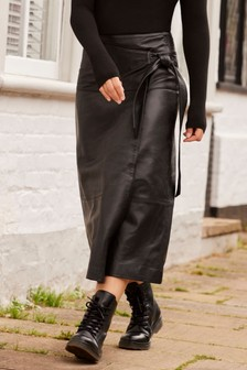 Emma Willis Leather Wrap Skirt