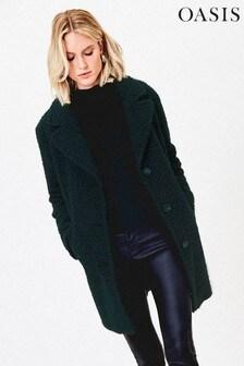 Oasis Green Boucle Teddy Coat