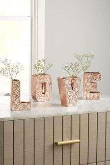 Набор из 4 керамических ваз цвета розового золота в виде слова Love
