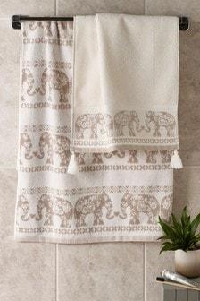 Handdoek met olifanten