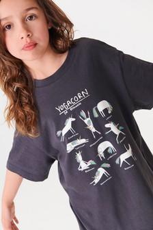 Camiseta larga extragrande con gráfico de unicornio (3-16 años)