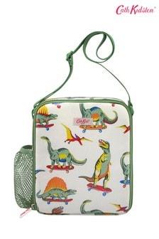 Детская белая сумка для завтраковCath Kidston® с принтом динозавров на скейтбордах