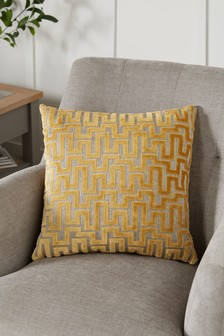 Ochre Yellow Fretwork Velvet Small Square Cushion