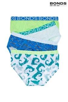 Bonds Blue Boys Briefs Four Pack