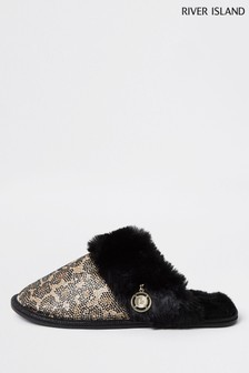 River Island Brown Animal Heatseal Slippers