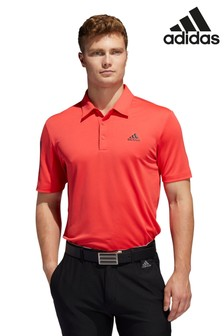 adidas Golf Red 3 Stripe Polo