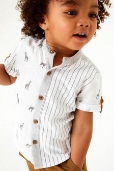 Pásikavé košeľa s krátkymi rukávmi a potlačou žirafy (3 mes. – 7 rok.)
