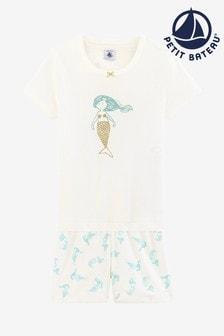 Conjunto de pijama en blanco con diseño de sirena de Petit Bateau