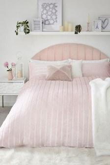 Fleece Satin Stripe Duvet Cover and Pillowcase Set