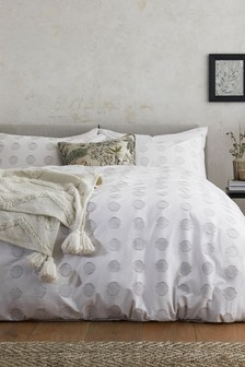 White 100% Cotton Woven Circles Duvet Cover and Pillowcase Set