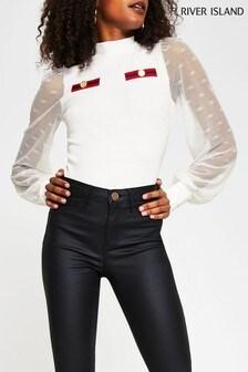 חולצה עם שרוול נפוחורשתבצבע שמנתשל River Island