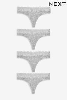 Набор из четырех трусиков с добавлением хлопка и с кружевной отделкой