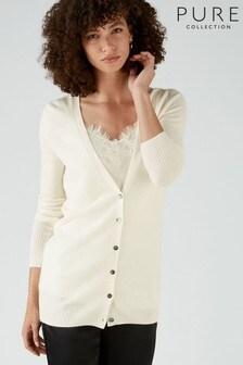 Pure Collection - Cardigan boyfriend bianco in cachemire