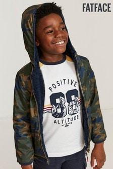 FatFace Green Reversible Camo Print Popover Jacket