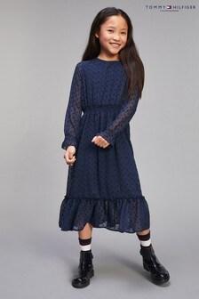 Tommy Hilfiger Kleid mit aufgeflockten Sternen, Blau