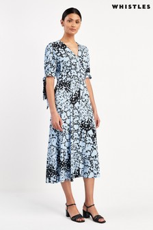 Whistles Blue Animal Print Neave Dress