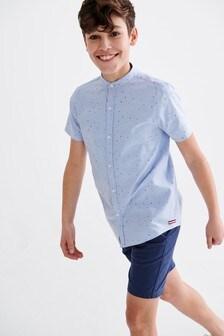 Оксфордская рубашка с короткими рукавами и принтом (3-16 лет)