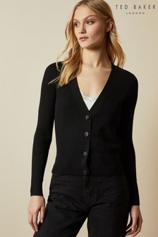 Ted Baker Black Raeyaa Button Front V-Neck Cardigan