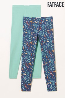 Fat Face Leggings mit Blumenmuster im 2er-Pack, Blau