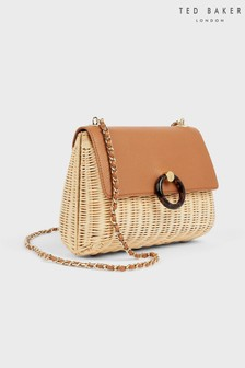 Ted Baker Janiya Straw Circle Lock Cross-Body Bag