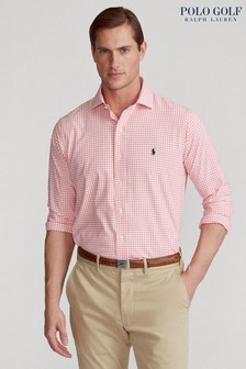Polo Golf by Ralph Lauren Pink Gingham Logo Long Sleeve Shirt