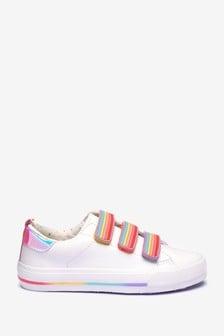 Кроссовки на липучках с радужной отделкой
