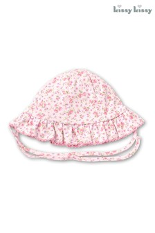 Kissy Kissy Pink Ditsy Floral Frilly Sun Hat