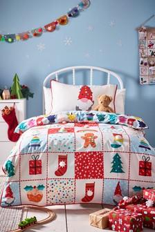 Multi Pom Pom Patchwork Christmas Duvet Cover and Pillowcase Set