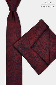 Moss London Wine Rose Tie & Pocket Square Set