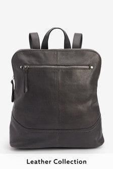 Кожаный рюкзак с декоративной строчкой