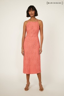 Warehouse Pink High Neck Lace Dress