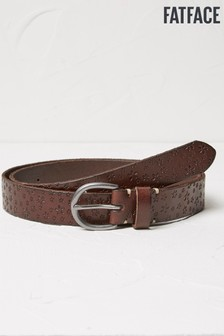 FatFace Brown Daisy Embossed Leather Belt
