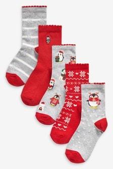 5 Pack Penguin Ankle Socks