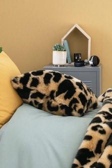 Myleene Klass Tan/Animal Faux Fur Leopard Cushion