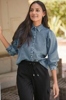 Джинсовая рубашка со сборками