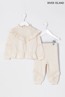 River Island Cream Chevron Frill Joggers Set