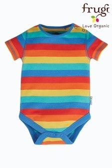 Frugi Red Organic Cotton Rainbow Stripe Short Sleeve Bodysuit