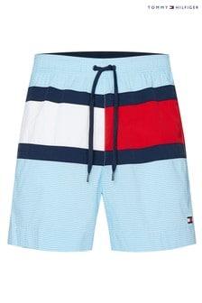 Tommy Hilfiger Blue Core Flag Laca Stripe Medium Drawstring Swim Trunks