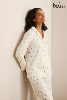 חולצת פיג'מה של Boden דגם Janie בלבן