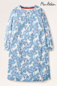 قميص نوم مطبوع أزرق بكم طويل من Mini Boden